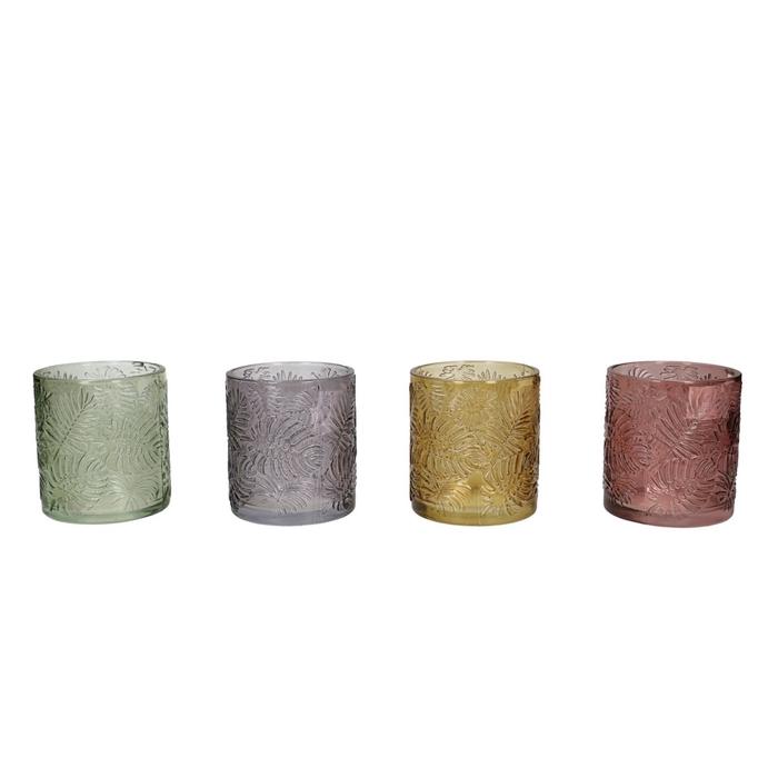 <h4>Glas kleur Glas+blad d7*8cm 4ass.</h4>
