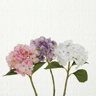 <h4>Zijde, Hydrangea, H 40 cm, 3 ass, Lilac, Pink, White</h4>