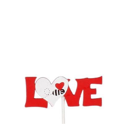 <h4>Bijsteker Love + hart 6,5x2,5cm+20cm stok rood/wit</h4>