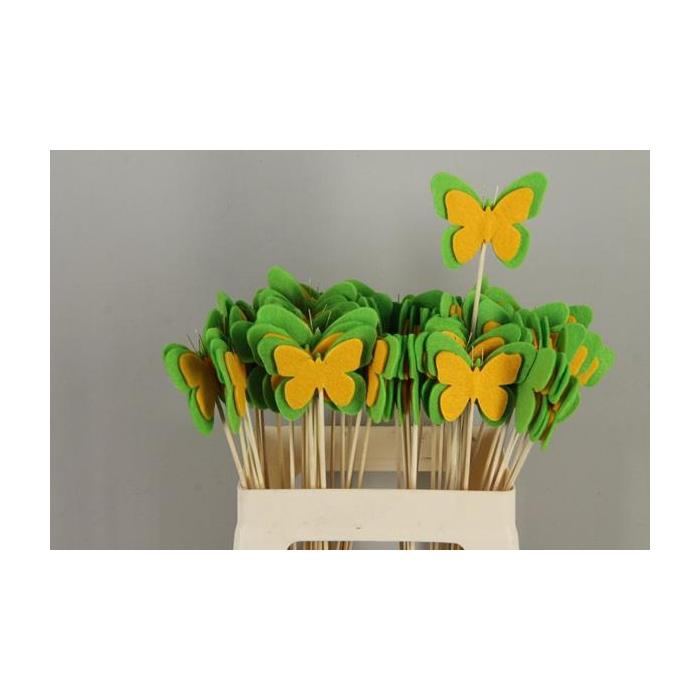<h4>Stick Butterfly Felt Green/yel</h4>
