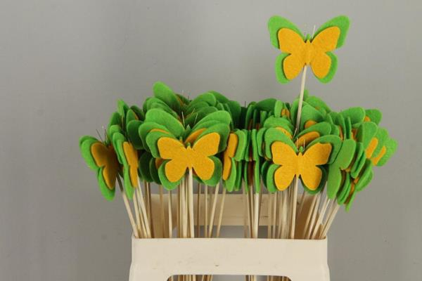 <h4>Stick Butterfly Felt Green/yel</h4>