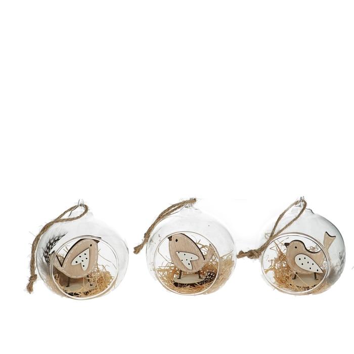<h4>Christmas Hanger bird glass d8cm x3cm</h4>