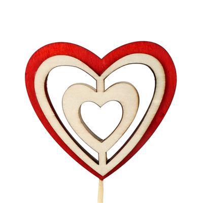 <h4>Bijsteker Double Heart hout 9x10cm+12cm stok rood</h4>