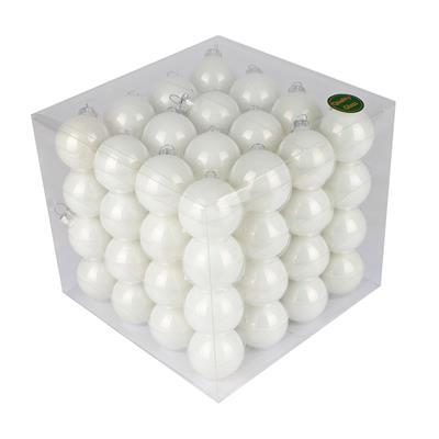 <h4>Boules de nöel en tube 40mm blanc brillant 64 pcs.</h4>