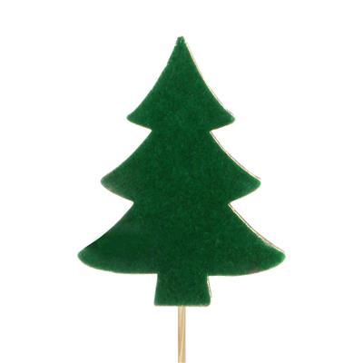 <h4>Bijsteker kerstboom velvet hout 9cm+12cm st. groen</h4>