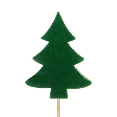 <h4>Pique Sapin de Noël Velvet bois 8x8cm+12cm bâton</h4>