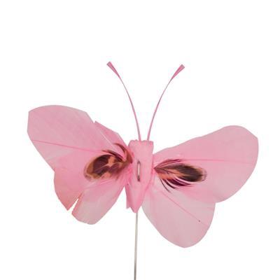 <h4>Bijsteker Butterfly 6x10cm+12cm draad 48 st. roze</h4>
