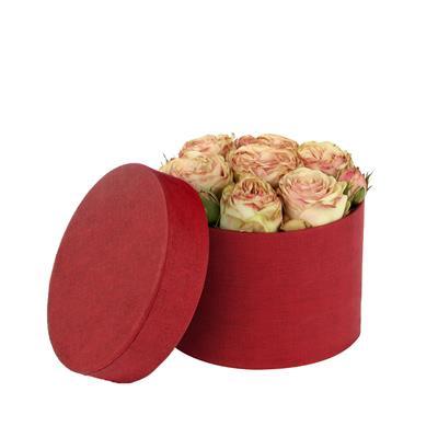 <h4>Hoedendoos Fabric karton Ø14xH10cm rood</h4>