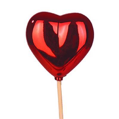 <h4>Bijsteker Hart glans 6,5x6,5cm+50cm stok rood</h4>