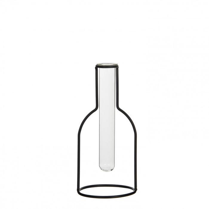 <h4>Glass Bottle+metal frame d10*22cm</h4>