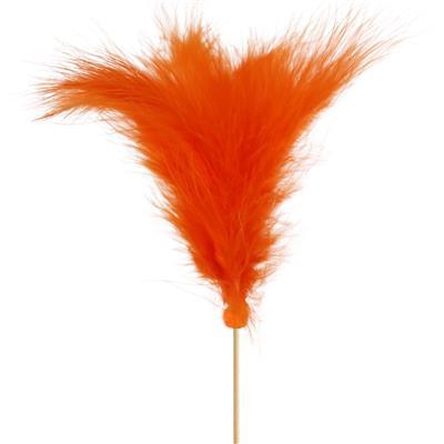 <h4>Pique Plumes 10cm+bâton 50cm orange</h4>