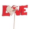 Déco Love + coeur 6,5x2,5+20cm rouge/blanc