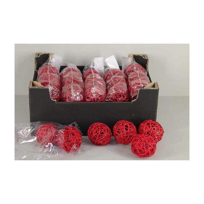 <h4>Bruce Ball  7cm Red Glit (6pc)</h4>