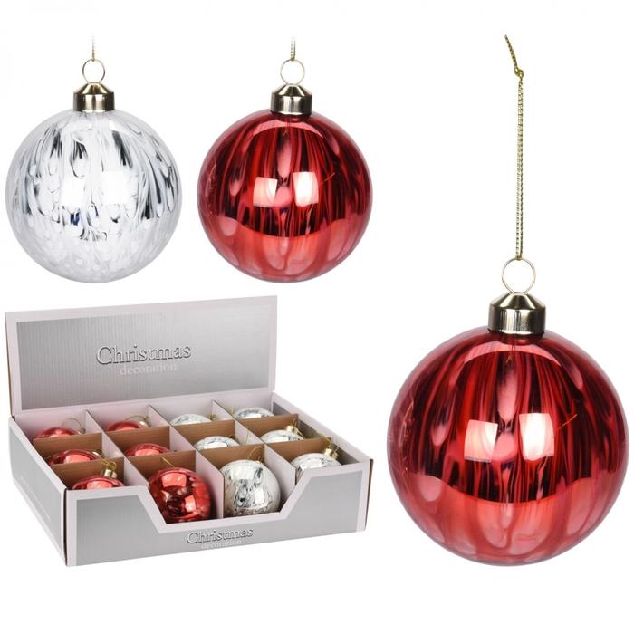 <h4>Christmas bauble Ball deco glass 80mm ass.</h4>
