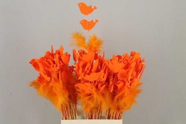 <h4>Stick Feather+prl+bird Orange</h4>
