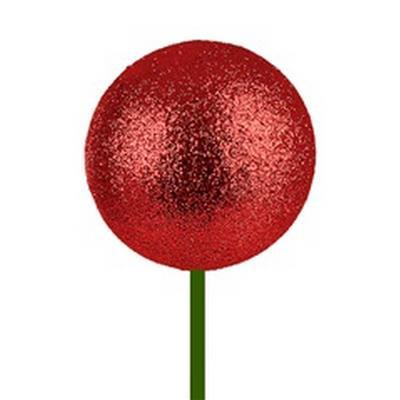 <h4>Bals de Noël Ø6cm rouge glitter sur tige 50cm</h4>
