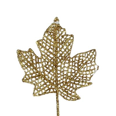 <h4>Bijsteker Esdoornblad glitter 9x9cm+12cm dr goud</h4>