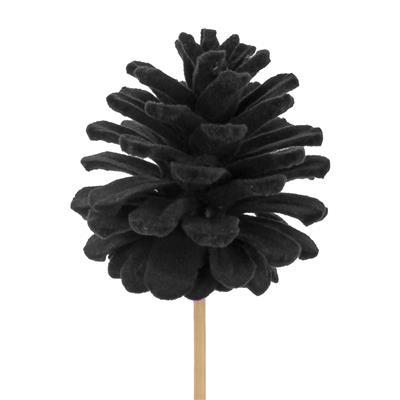 <h4>Bijsteker dennenappel flock 5-6cm+50cm stok zwart</h4>
