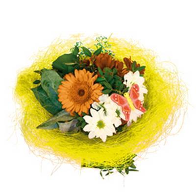 <h4>Support à bouquet sisal arrondi mobile Ø25cm jaune</h4>
