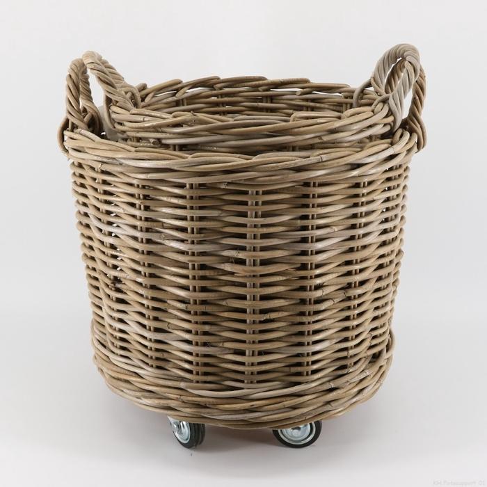 <h4>Baskets Rattan rnd+Wheels S/2 d50*50cm</h4>
