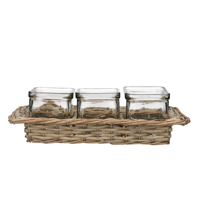 <h4>Glass Basket+3cube square d7.5*7.5cm</h4>