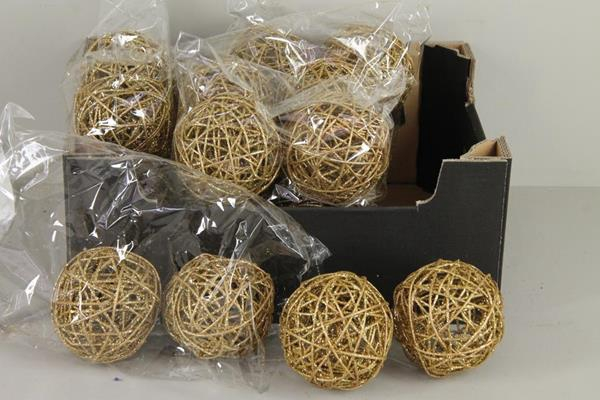<h4>Bruce Ball 10cm Gold Glt (4pc)</h4>