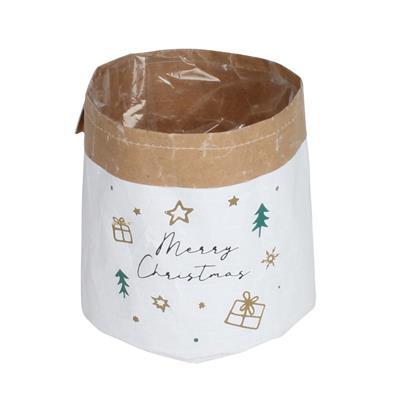 <h4>Pot Merry Christmas papier ES14xH14cm+pl. inlay</h4>