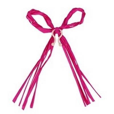 <h4>Raffia strik 17x12cm + clip roze</h4>
