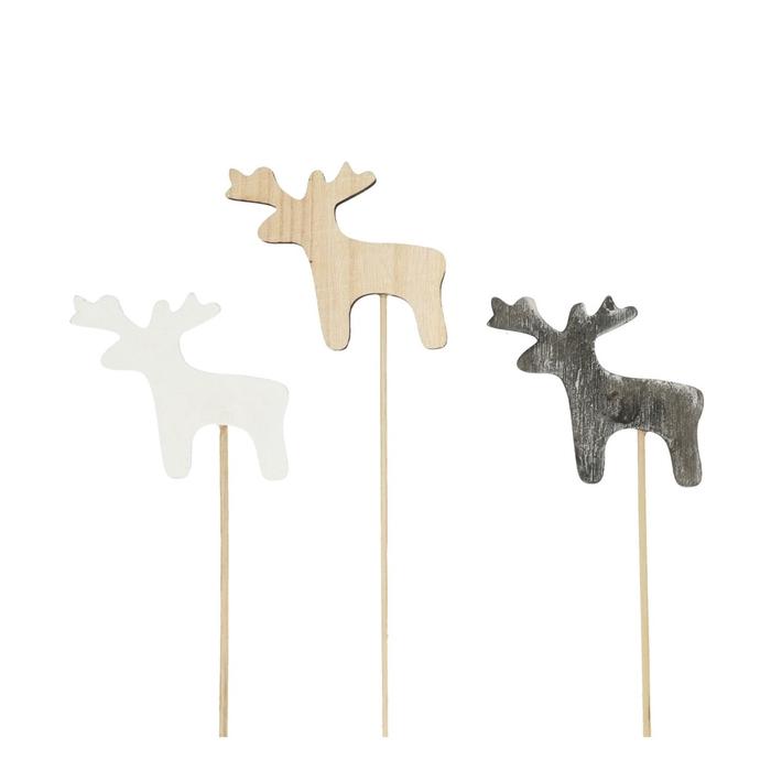 <h4>Christmas sticks 20cm Wood reindeer d7cm</h4>