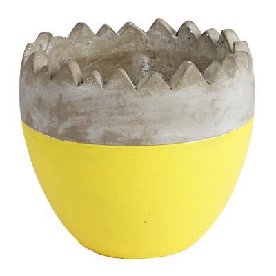<h4>Pot Oeuf ciment ES12xH12cm jaune</h4>