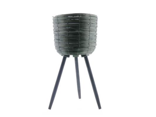 <h4>Basket W/feet Ø29x59 Green/blk</h4>