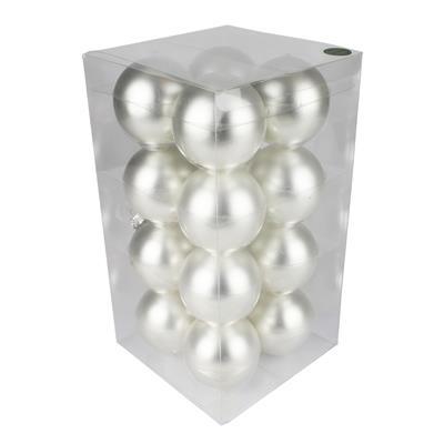 <h4>Boules de Noël 80mm mat argent 16 pcs.</h4>