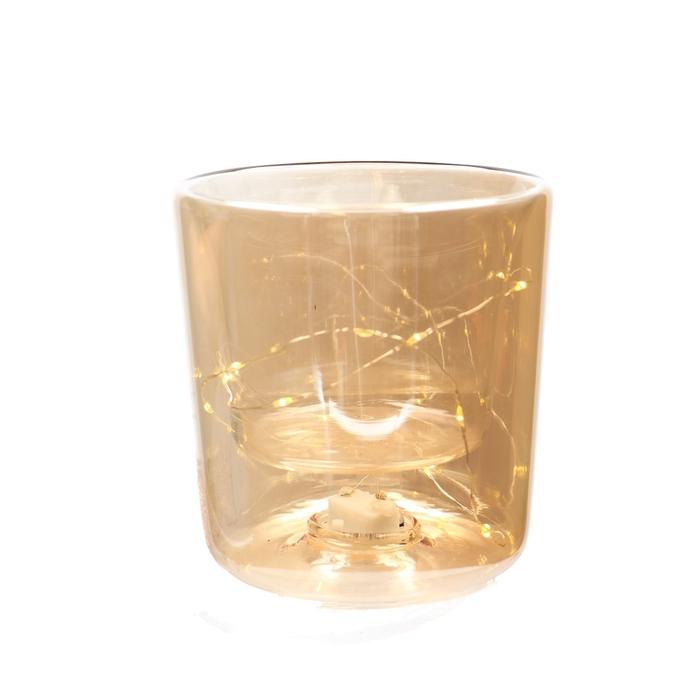 <h4>Christmas LED pot glass 15lmp d13*14cm</h4>