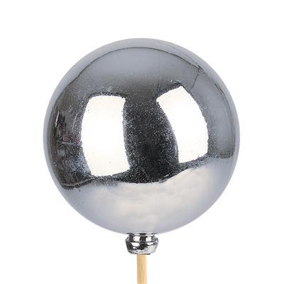 <h4>Bijsteker Kerstbal glans Ø6cm+50cm stok zilver 100</h4>