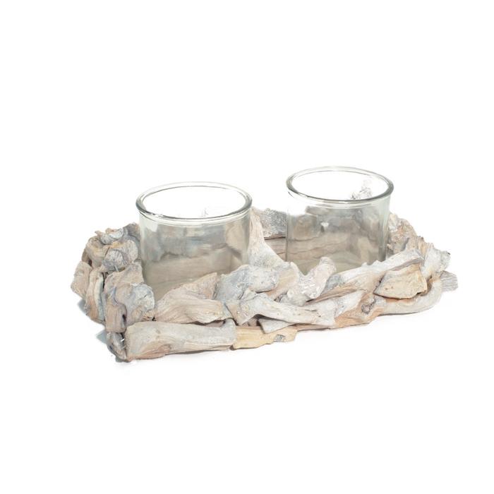 <h4>Glas Planter drijfh.+2bol 33*21*7cm</h4>