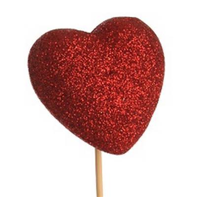 <h4>Déco coeur paillettes 6 cm + 50 cm baton rouge</h4>