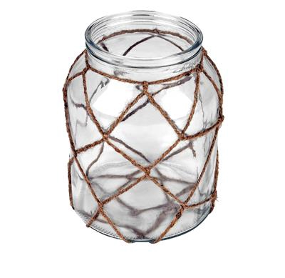 <h4>Vaas Marrakesh glas+touw Ø16xH20cm transparant</h4>