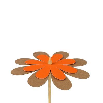 <h4>Bijsteker bloem kraft 8cm+50cm stok oranje</h4>