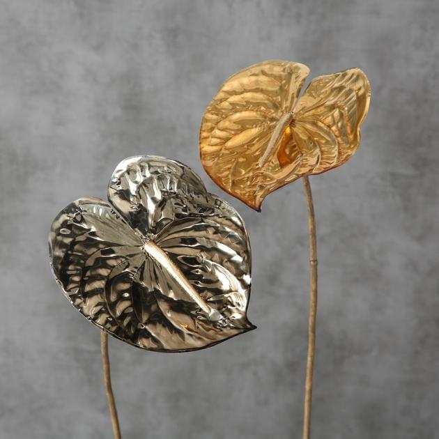 <h4>Zijde, Anthurium, H 64 cm, 2 ass, Gold, Silver</h4>