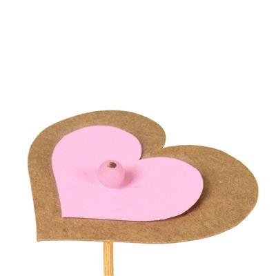 <h4>Bijsteker hart kraft 6,5x7,5+12cm stok roze</h4>