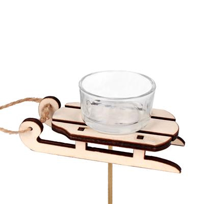 <h4>Bijsteker slee hout+waxine glas 12x8cm+8cm stok</h4>