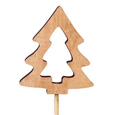 <h4>Bijsteker kerstboom open hout 7x6cm+12cm stok</h4>
