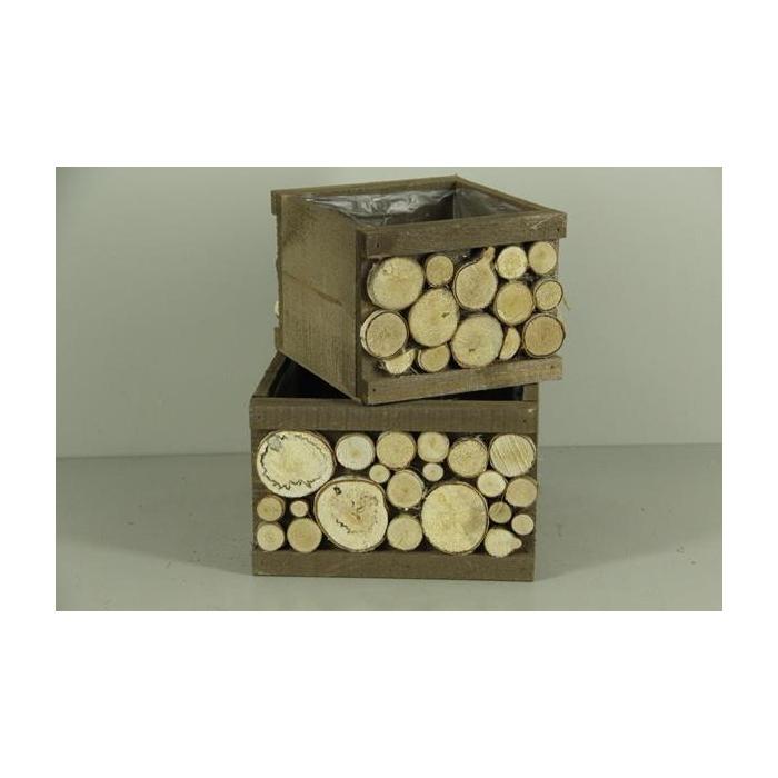 <h4>Planter Wood+birchslices S/2</h4>