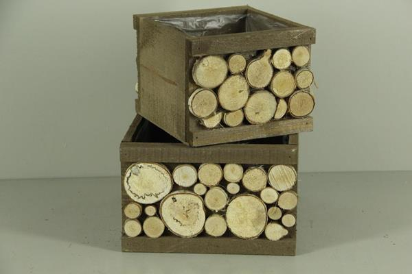 <h4>Planter Wood+birchslices S/2</h4>