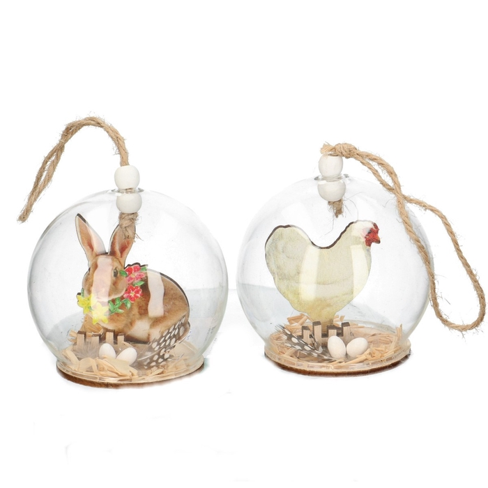 <h4>Easter Hanging glass chicken/hare 8cm</h4>