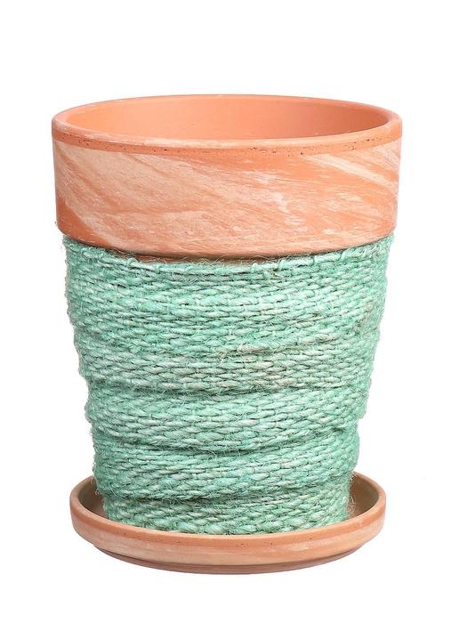 <h4>DF010057237 - Pot+saucer Lilo+jute l.green d11.6xh14.8</h4>