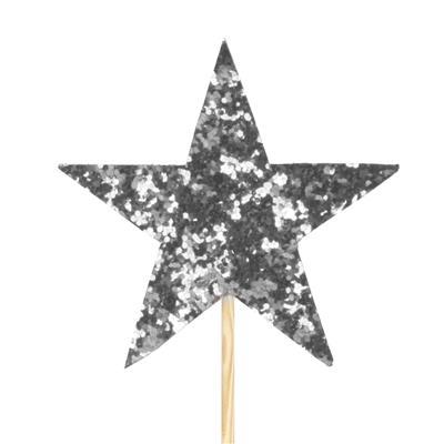 <h4>Pique star feutre 7x7cm +12cm bâton argent</h4>