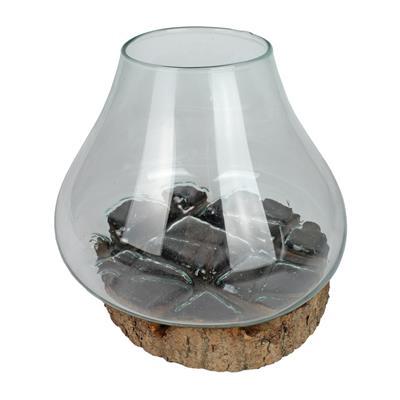 <h4>Centurion en verre sur base en bois Ø10xH25,5cm</h4>