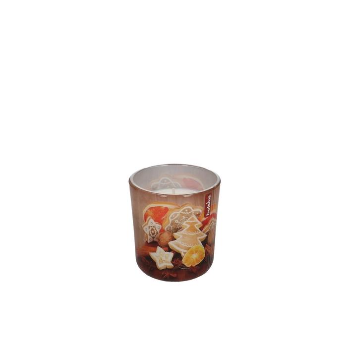 <h4>Kaars Glaspot geur Gingerbr.d8*7cm</h4>