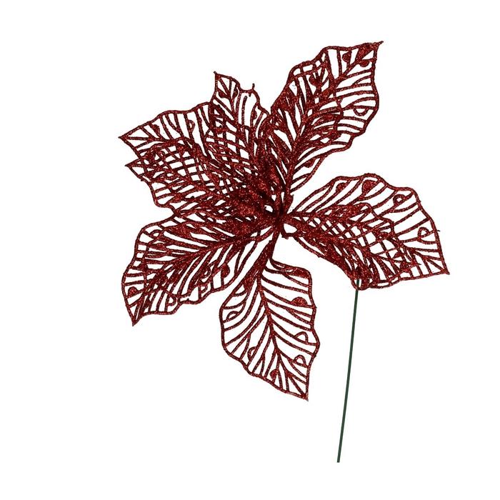 <h4>Christmas Flower Glitter/wire d17cm x2</h4>